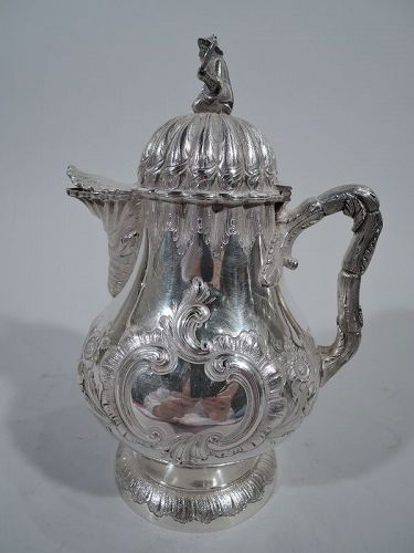 Philadelphia Coin Silver Pot with Chinaman Finial by R & W Wilson