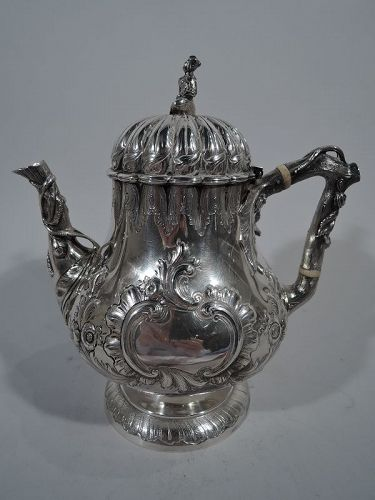 Philadelphia Coin Silver Teapot with Chinaman Finial by R&W Wilson
