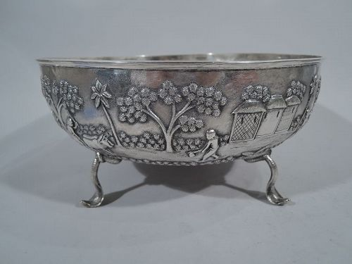 Antique Raj Pastoral Indian Silver Bowl with Cobra Supports