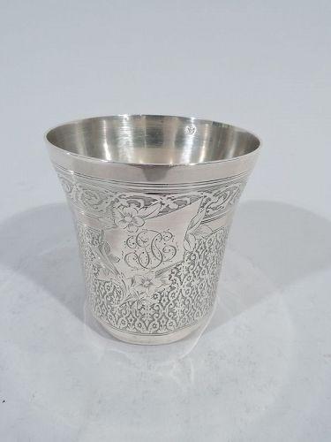 Antique French Belle Epoque Silver Beaker