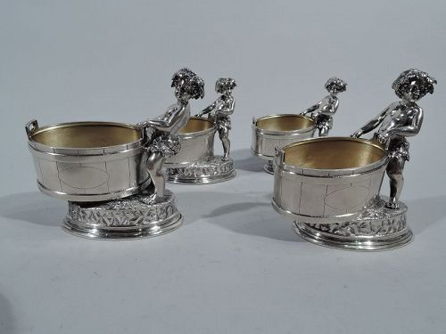 Set of Antique Sterling Silver Open Salts with Cherubic Bacchic Babes