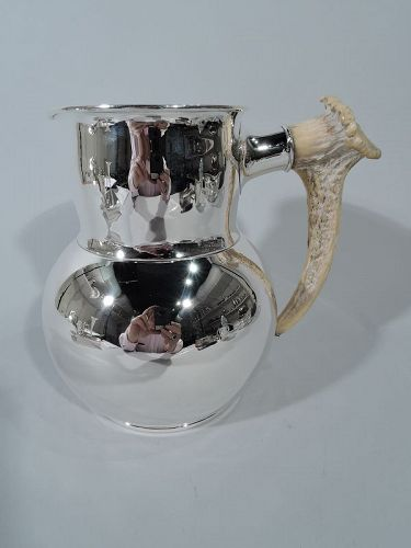 Antique Shreve Sterling Silver Water Pitcher with Antler Handle