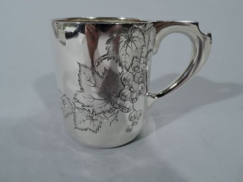 Antique Tiffany Sterling Silver Baby Cup with Berry Branch