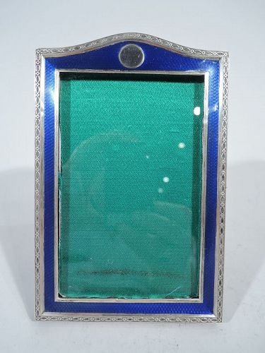 English Art Deco Sterling Silver & Enamel Picture Frame