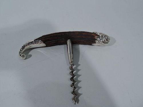 American Art Nouveau Sterling Silver & Horn Corkscrew