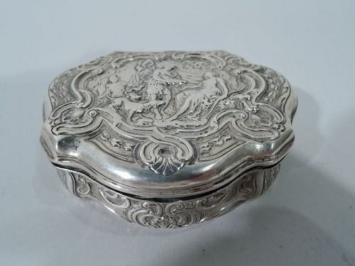 Antique German Classical Silver Snuffbox in 18th Century Style
