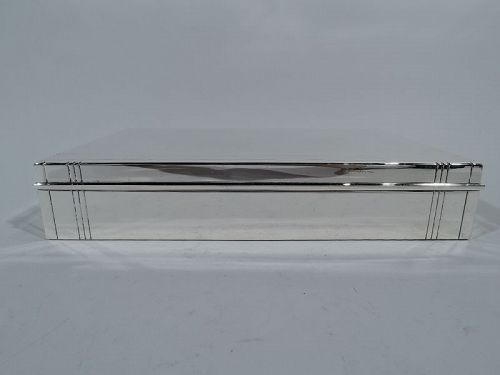 Tiffany Smart Sterling Silver Desk Box with Linear Ornament