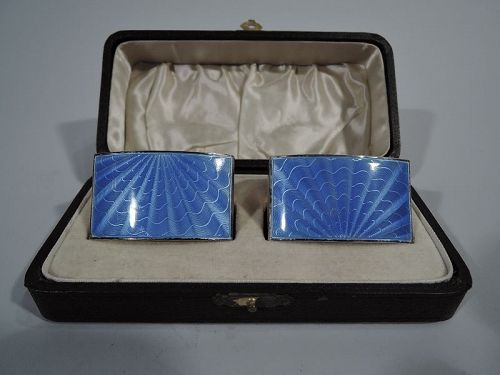 Pair of English Art Deco Sterling Silver and Blue Enamel Napkin Rings