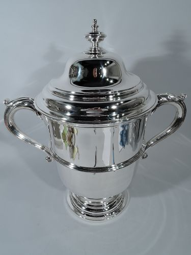Monumental Antique English Sterling Silver Covered Trophy Cup