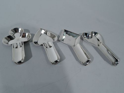 Set of 4 Unger Bros Novelty Sterling Silver Playing Card Ashtrays