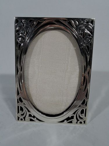 American Art Nouveau Pierced Sterling Silver Picture Frame