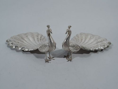 Pretty Mint Dishes - Pair of Durgin Sterling Silver Peacocks