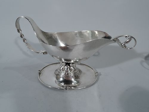 Early Experimental Georg Jensen Silver Gravy Boat on Stand with Ladle
