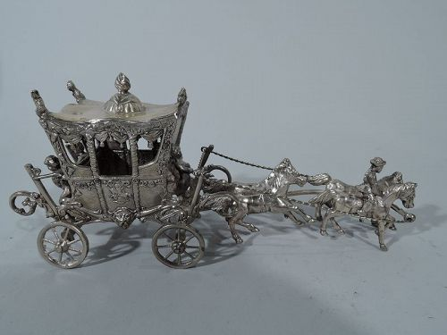 Antique German Rococo Sterling Silver Horse-Drawn Cinderella Coach
