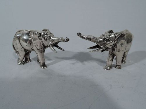 Pair of Antique German Silver Elephant Salt & Pepper Shakers