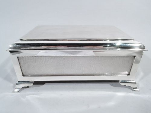 Large English Art Deco Sterling Silver Casket Box