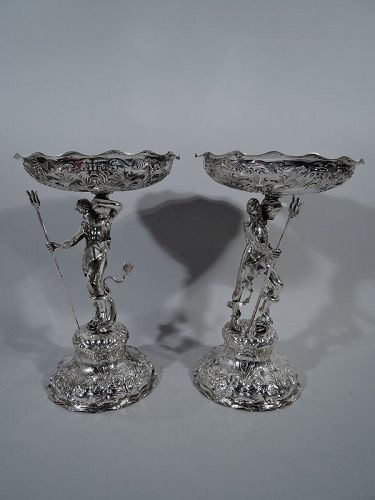 Antique George Fox Sterling Silver Neptune Centerpiece Compotes 1868