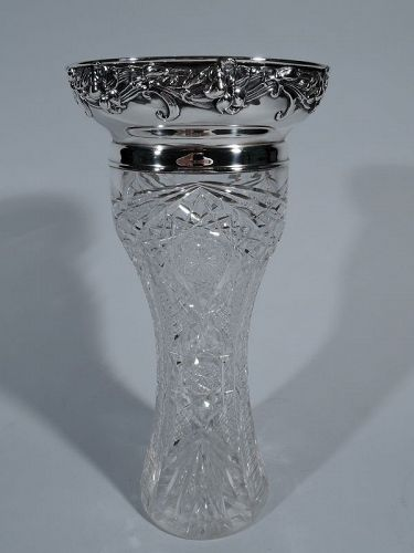 Gorham Art Nouveau Sterling Silver & Brilliant-Cut Glass Vase