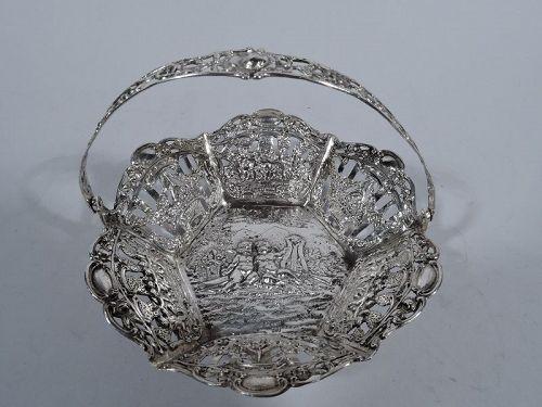 Antique German Rococo Silver Basket