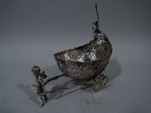 Antique German Rococo Silver Winged Cupid Harnessed to Love Coach