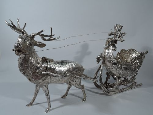 Large Antique German Silver Rococo Fantasy Centerpiece Sleigh