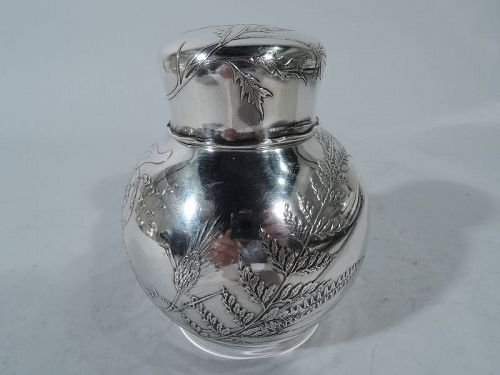 Wonderful Tiffany Aesthetic Japonesque Sterling Silver Tea Caddy