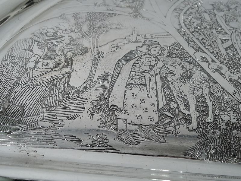 Antique Cartier Sterling Silver Mother Goose Baby's Highchair Tray