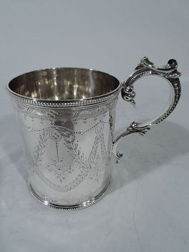 Antique English Victorian Neoclassical Sterling Silver Baby Cup 1866