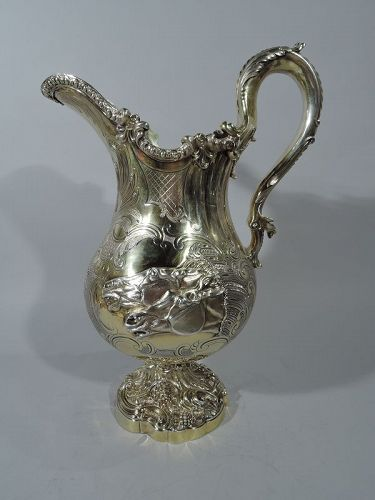 Large Regency Silver Gilt Ewer with Racing Horses by Robert Garrard