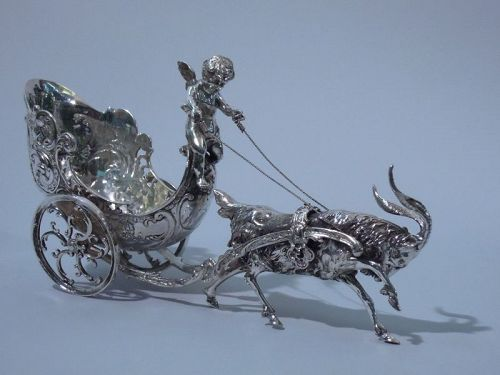 Antique German Silver Rococo Fantasy Goat-Harnessed Cupid Carriage