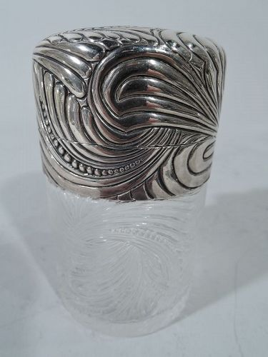 French Art Nouveau Silver and Crystal Vanity Jar by Tiffany of Paris