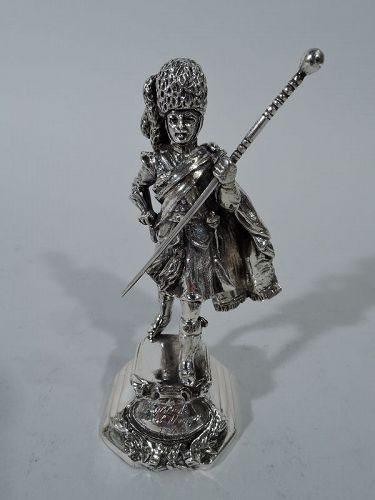 Scottish Highlander Silver Military Figurine