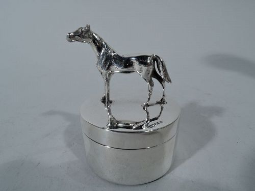Antique American Sterling Silver Horse Box for Postage Stamps