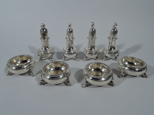 Set of 4 Pairs of Tuttle Neoclassical Sterling Silver Salts & Peppers