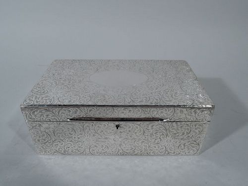 Large Antique Tiffany Sterling Silver Box with Beautiful Scrollwork