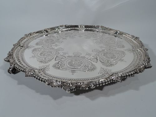 Large and Sumptuous Antique English Sterling Silver Salver Tray