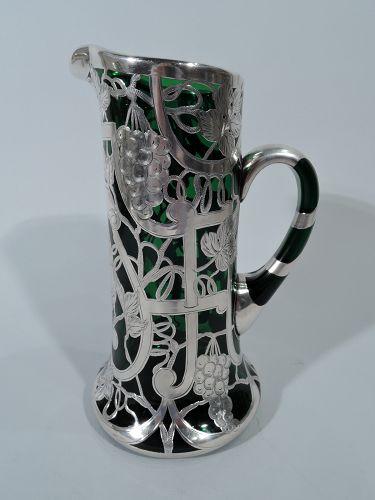 American Art Nouveau Emerald Green Glass Silver Overlay Claret Jug