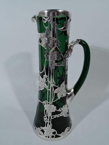 Alvin Tall Art Nouveau Emerald Green Silver Overlay Claret Jug