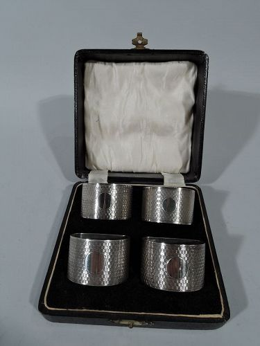 Set of 4 English Art Deco Sterling Silver Napkin Rings in Leather Box