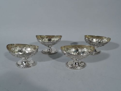 Set of 4 Antique English Neoclassical Sterling Silver Open Salts 1802