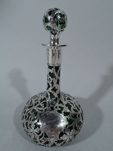 Elegant Alvin Art Nouveau Emerald Glass Silver Overlay Decanter