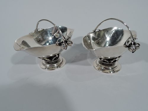Pair of Georg Jensen Hand Hammered Sterling Silver Bud Baskets