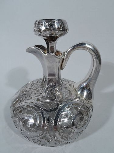 Antique American Art Nouveau Silver Overlay Jug Decanter by Alvin