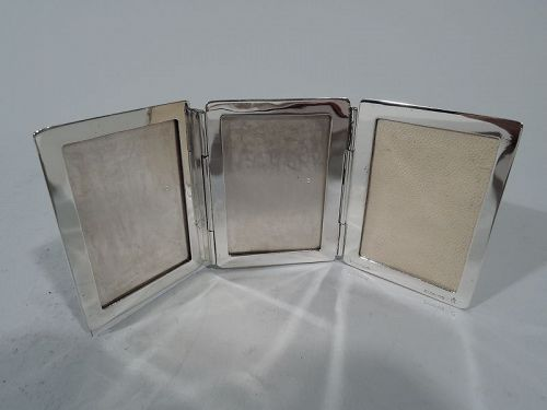 Tiffany American Modern Sterling Silver Traveling Triple Picture Frame