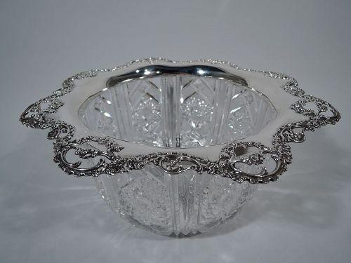 Gorham American Brilliant-Cut Glass Sterling Silver Centerpiece Bowl