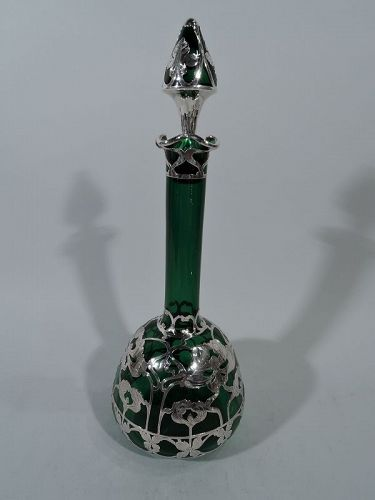 Tall American Art Nouveau Emerald Glass Silver Overlay Decanter