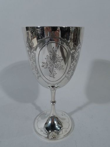 Antique English Sterling Silver Goblet with Flowers 1875