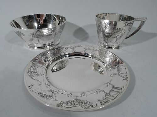 Art Deco American Sterling Silver 3-Piece Animal Baby Set by Kerr