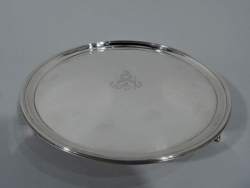 English Neoclassical Sterling Silver Salver Tray with Armorial 1791
