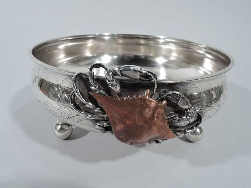 Whiting Japonesque Sterling Silver & Mixed Metal Marine Bowl with Crab